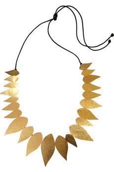 Hervé Van der Straeten Bali hammered 24-karat gold-plated leaf necklace  would look nice with a gold cuff.......