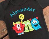 Monster Birthday Shirt - Monster First Birthday - One - Monster Party - First Birthday Monster Shirt - Personalized Shirt - Little Monster