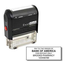 "Bank Deposit Stamp - Five Line Self Inking Stamp for Check Endorsement - 7/8"" x 2-5/16"
