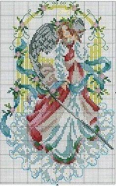 Punto de Cruz GRATIS: Angel de la Puerta Dorada.