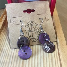 Earrings made from vintage buttons are a perfect pairing with your fav jeans! Button Earrings, Drop Earrings, Vintage Buttons, Perfect Match, Handmade Jewelry, Purple, Jeans, Accessories, Handmade Jewellery
