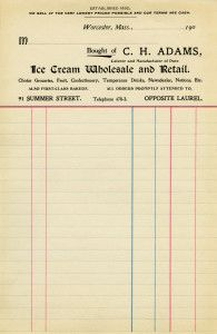Vintage invoice from the early 1900′s. It was printed for C. H. Adams, caterer and manufacturer of pure ice cream.