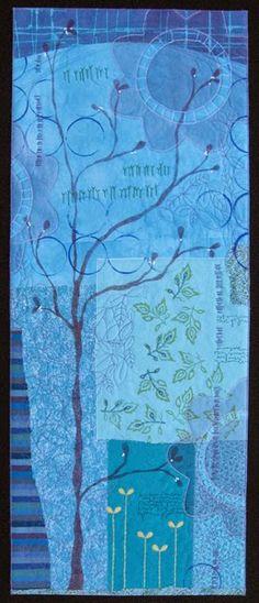 "Deborah Boschert, Indigo Garden, art quilt, 40x15"""