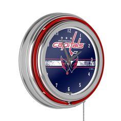 "New England Patriots 19/"" Double Neon Clock Red Neon Chrome Finish Football"