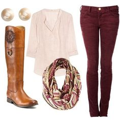 Corduroy maroon pants with a simple white top. Tall tan boots and a colorful infinity scarf with maroon accents.