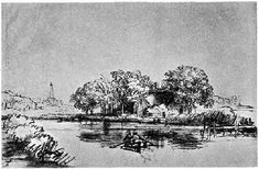 Rembrandt, A Canal with a Rowing Boat, pen and ink drawing.: This image is used…