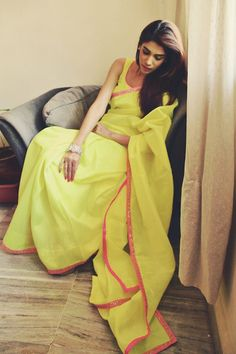 Stunning Yellow #Saree With Pink Line Border.