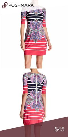 "Eliza J Multicolored Jersey Dress Eliza J Multicolored Jersey Dress, jewel neck, exposed back zip closure, lined, elbow-length sleeves, 34"" regular length, 95% polyester, 5% spandex, pink navy color Eliza J Dresses Midi"
