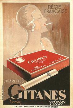 Cigarettes Gitanes Vizir. Poster by Dormoy, 1929. via f.ledevedec