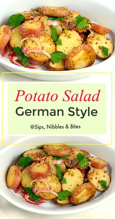 My German Potato Salad recipe or Kartoffelsalat is the style of potato salad you find in the southern part of Germany and is made with lots of bacon herbs and a coarse grain mustard vinaigrette Potluck Recipes, Side Dish Recipes, Salad Recipes, Dinner Recipes, Side Dishes, Yummy Recipes, Healthy Recipes, Vinaigrette, Warm Potato Salads
