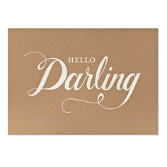 This hello darling print is letterpress printed by hand on antique machinery. White foil on kraft paper. Fits a standard 10 x 14 frame. Hand lettering by Joanna Reynolds. Framed. Print is 10 x 14 inch