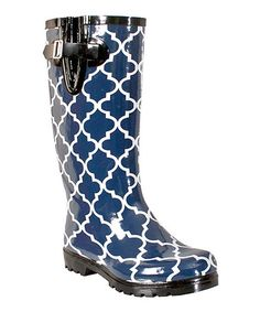 Loving this Navy Moroccan Trellis Puddles Rain Boot on #zulily! #zulilyfinds