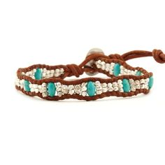 Chan Luu - Turquoise and Silver Nugget Single Wrap Bracelet on Natural Brown Leather, $155.00 (http://www.chanluu.com/bracelets/turquoise-and-silver-nugget-single-wrap-bracelet-on-natural-brown-leather/)