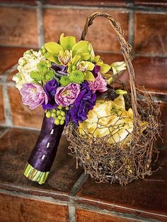 love these colors!  Green, Purple and Yellow Wedding Bouquet  - Soleil Flowers, Temecula, California