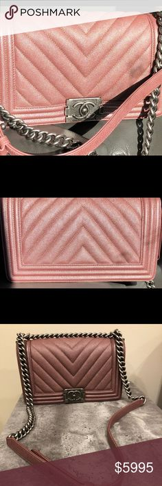 40561c34a610 CHANEL 18A Metallic pink chevron boy bag 18A Metallic Dark Pink Chevron Old  Medium Boy Bag Brand new!! Gorgeous metallic caviar leather accented by ...