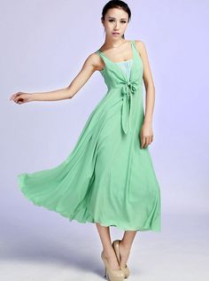 Chiffon Dress Magic Mint DressCool DressMaxi by xiaolizi on Etsy