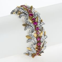 Tiffany & Co. A Century, rare and possibly unique bracelet signed by Tiffany & Co. The bracelet is composed of 18 karat gold, platinum, rubies and diamonds, featuring rubies of approximately 8 Ruby Bracelet, Gold Link Bracelet, Diamond Bracelets, Diamond Jewelry, Silver Jewelry, Vintage Jewelry, Louis Comfort Tiffany, Unique Bracelets, Bracelets