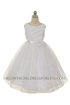 MB_278W - Flower Girl Dress Style 278 - WHITE Sleeveless Tulle Dress with Mesh Rolled Flowers - All First Communion Dresses - Flower Girl Dr...