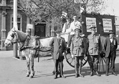 Grocers with a parade float. Signs on the float read: 'Equal pay for the se(? - word is obscured)' and'Do it now, join grocers' union'. Two of the men standing in front of the float are in army uniform. Australian People, Australian Flags, Melbourne Victoria, Army Uniform, Old Photos, Horses, History, Awesome, Museums