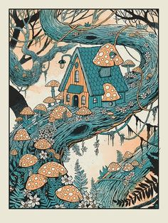 Mushroom Treehouse Colored version is a 18 x 4 color silkscreen which is hand printed in our shop. Standard frame size Ships from Atlanta, GA rolled and packed in a tube. Art Inspo, Kunst Inspo, Inspiration Art, Fantasy Kunst, Fantasy Art, Fantasy House, Art Et Illustration, Illustrations, Dragon Movies