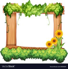 Buy Frame by BlueRingMedia on GraphicRiver. Wooden frame decorated with plants and sunflowers Kids Background, Flower Background Wallpaper, Flower Backgrounds, Textured Background, Woodworking Drill Press, Woodworking Projects, Borders And Frames, Borders For Paper, Kids Vector