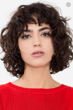 Vintage Hairstyles With Bangs Wavy hair with bangs Curly Hair Styles, Short Curly Haircuts, Curly Hair With Bangs, Short Wavy Hair, Curly Hair Cuts, Hairstyles With Bangs, Natural Hair Styles, Wavy Lob, Curly Bob With Fringe