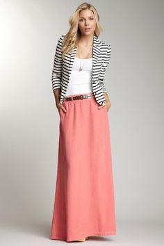 Tencel Twill Maxi Skirt/striped blazer