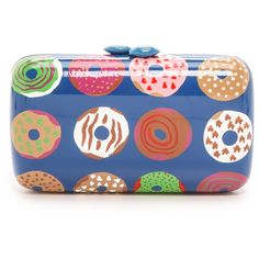 Serpui Marie Donut Clutch - Donuts (805 BRL) ❤ liked on Polyvore featuring bags, handbags, clutches, blue clutches, kisslock purse, blue purse, kiss clasp purse and kiss lock purse