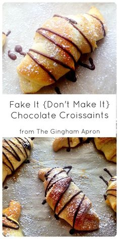Chocolate Croissants- So easy that anyone can make them! Breakfast Recipes, Dessert Recipes, Brunch Recipes, Breakfast Dishes, Holiday Recipes, Great Recipes, Favorite Recipes, Christmas Morning Breakfast, Good Food
