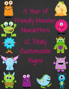 Friendly Monster themed classroom newsletter templates. $