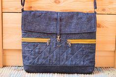 Blue denim cotton shoulder crossbody messenger bag for by SomBags