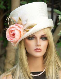 Cream Ivory Straw Hat. Mad Hatter, Victorian English Riding Hat. Wedding Hat, Kentucky Derby Hat. Formal Hat.Top Hat, Garden Party Hat