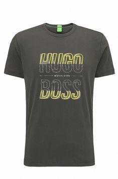 BOSS - Regular-fit T-shirt in single jersey T Shirt Art, Casual T Shirts, Tee Shirts, Mens Fashion, Fashion Outfits, Fashion Clothes, Shirt Outfit, Hugo Boss, Fitness