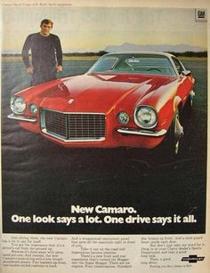 Vintage Cars 1970 Camaro Vintage Advertising from newspapers, magazines, television . Corvette, Chevrolet Camaro 1970, Chevy Camaro, Chevy Hhr, Classic Chevrolet, Us Cars, Sport Cars, Retro Cars, Vintage Cars