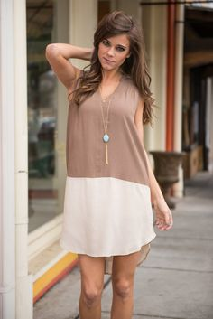 """""""Set The Two Tone Dress, Mocha"""" 