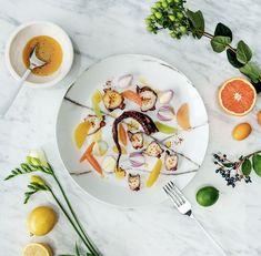 Carpaccio de pieuvre aux agrumes #carpaccio #octopus #citrus #valentinesday #appetizer #foodlavie Carpaccio, Jus D'orange, Saveur, Starters, Ice Cream, Plates, Tableware, Kitchen, Citrus Juice