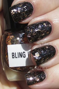 Bling It  Gold and Copper Glitter Handmade Nail by HazeGlaze, $8.79