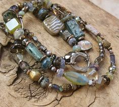 Large Blue and Green Basha Bead with Gemstone by DesertTalismans