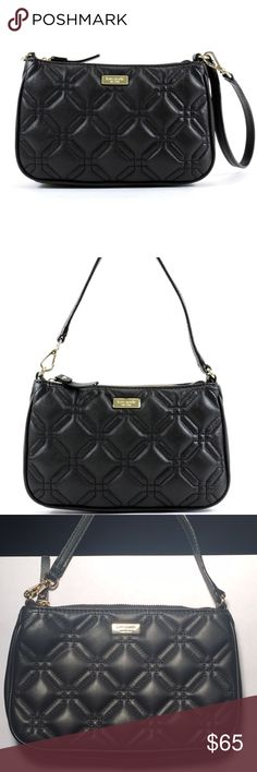 """Kate Spade Astor Court Linet Wristlet Kate Spade Astor Court Linet Wristlet is a beautifully quilted ziptop mini bag or converts to a wristlet. The Kate Spade plaque is 14 karat gold plated. The interior is white and black polkadotted lining with four credit card slots.  Measures 8""""L x 5""""H x 1.25""""W  This bag is in like new condition. The strap has a twist in it from being hung on a hanger. Nothing serious! The bottom of the bag has the tiniest little white spot as seen in my picture with my…"""