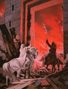 Gandalf keeps the Witch-King at bay at the gates to Minas Tirith - Angus McBride Jrr Tolkien, Tolkien Books, Gandalf, Legolas, Lord Of Rings, Fellowship Of The Ring, Hexenkönig Von Angmar, Dcc Rpg, Witch King Of Angmar