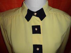 Vintage Blusen - Bluse*Vintage*Gelb*blau*38* - ein Designerstück von SweetSweetVintage bei DaWanda