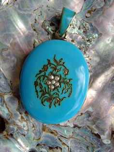 Museum Worthy Large Robins Egg Blue Enamel and Silver Locket with Hand Painted Mother and Child Portraits, Seed Pearl Flower, Very Special by postGingerbread on Etsy