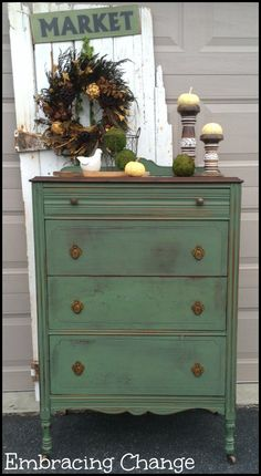 Spearmint Dresser - Custom Mix of Miss Mustard Seed Milk Paint in Boxwood, Linen, and Ironstone - Embracing Change