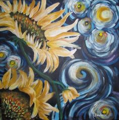Painted by Janelle Boucher ~ Inspired by Van Gogh Sunflowers and Starry Night tutorial in acrylic by theartsherpa on youtube