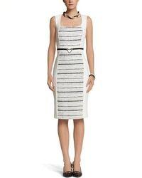 Online Shop [EDEN] New Arrival White Contrast Black Sleeveless Elegant Knit Bodycon with Belt|Aliexpress Mobile