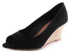Neu Damen/Damen Schwarz Peeptoe Keilabsatz Schuhe Perfekt Für A Ausgehen Schwarz - UK GRÖßEN 3-9 - http://on-line-kaufen.de/platino/neu-damen-damen-schwarz-peeptoe-keilabsatz-fuer-a