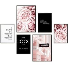 Poster Set of Coco Chanel Roses, Poster Living Room Bedroom Decoration, Decoration, Print Pictures Fashion and Fashion, DIN & DIN Chanel Dekor, Room Ideas Bedroom, Bedroom Decor, Tumblr Wall Art, Chanel Room, Chanel Wall Art, Chanel Chanel, Cute Room Decor, Wall Decor