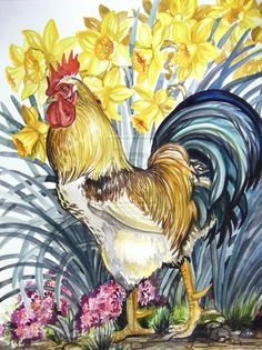 Rooster and Daffodils by HouseofChabrier.deviantart.com on @deviantART