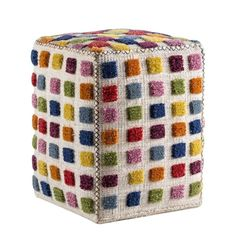 M.A.Trading Hand-woven Indo Gemma Multi 20 x 16 x 16-inch Pouf