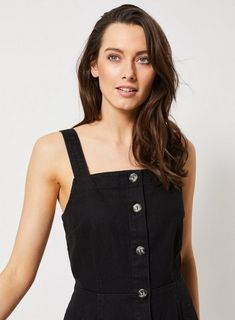 dbd4f4ab3e3 Womens Black Denim Horn Button Pinafore Dress- Black